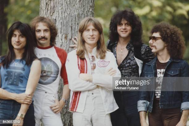 American rock group Journey, New York, June 1979. Left to right: singer Steve Perry, drummer Steve Smith, bassist Ross Valory, keyboard player Gregg...