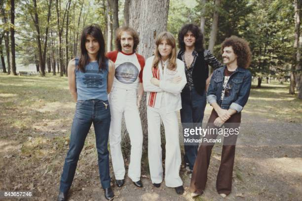 American rock group Journey New York June 1979 Left to right singer Steve Perry drummer Steve Smith bassist Ross Valory keyboard player Gregg Rolie...