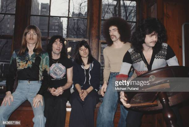 American rock group Journey, New York, USA, 1978. Left to right: bassist Ross Valory, drummer Aynsley Dunbar, singer Steve Perry, guitarist Neal...