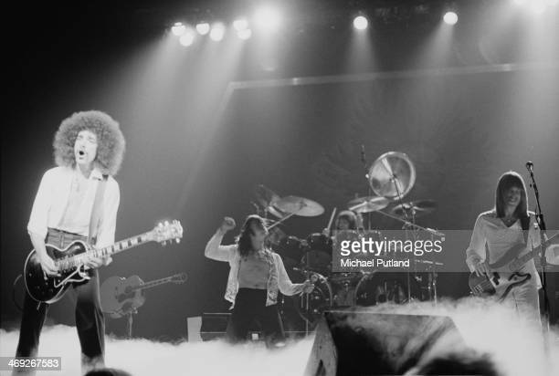 American rock group Journey performing on their 'Departure' tour, 1980. Left to right: Neal Schon, Steve Perry, Aynsley Dunbar and Ross Valory.