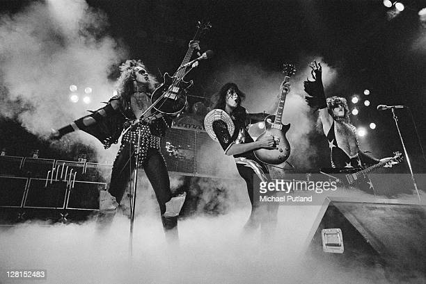 American rock group Kiss performing on stage, circa 1977. Left to right: Gene Simmons, Ace Frehley and Paul Stanley.