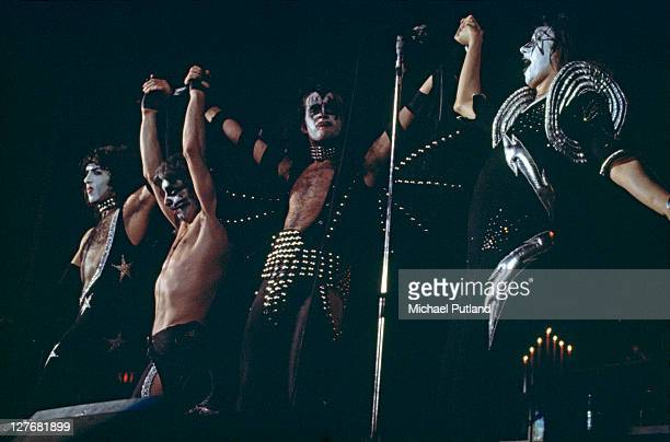 American rock group Kiss take a curtain call after a performance circa 1977 Left to right guitarist Paul Stanley drummer Peter Criss bassist Gene...