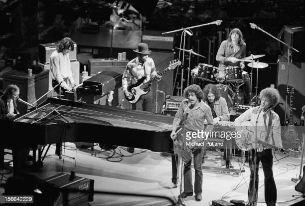 American rock group Manassas performing on the 'In Concert' TV show at the BBC TV Theatre London 1972 Left to right Stephen Stills Paul Harris Calvin...