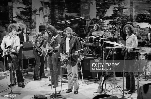 American rock group Manassas performing on the 'In Concert' TV show at the BBC TV Theatre London 1972 Left to right Chris Hillman Paul Harris Calvin...