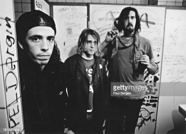American rock group Nirvana, backstage in Frankfurt, Germany, 12th November 1991. Left to right: drummer Dave Grohl, singer and guitarist Kurt Cobain...