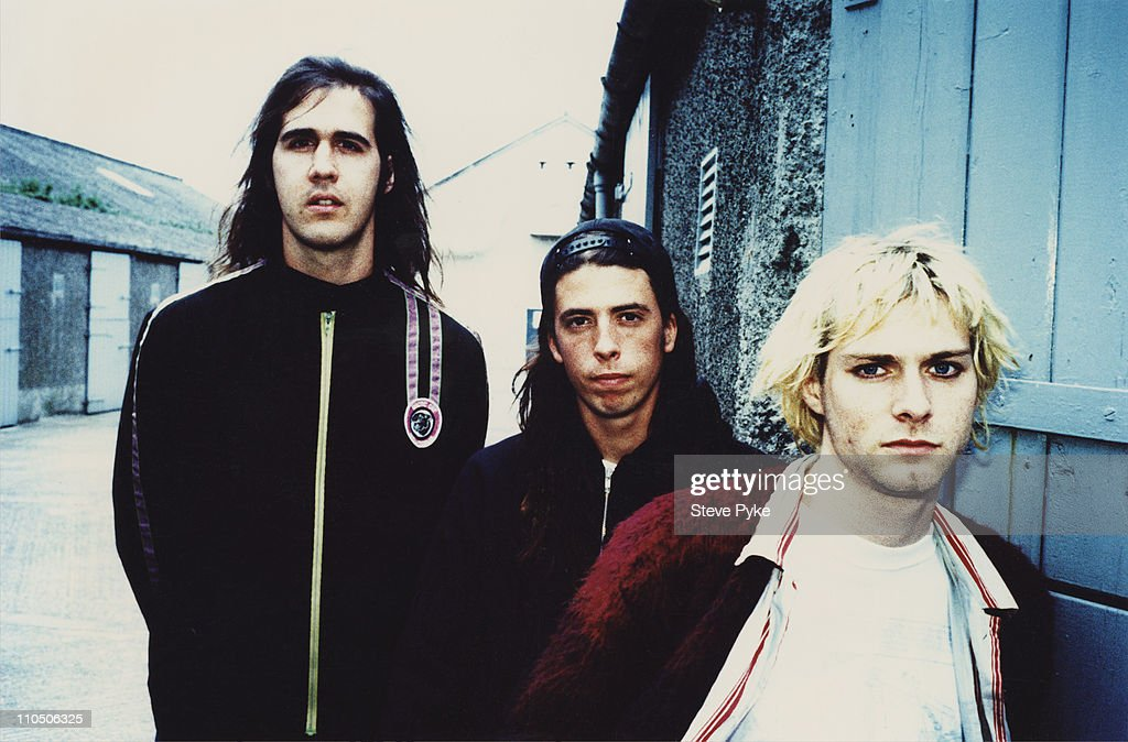 American rock group Nirvana, Belfast, 1992. Left to right: bassist Krist Novoselic, drummer Dave Grohl and guitarist/singer Kurt Cobain (1967 - 1994).