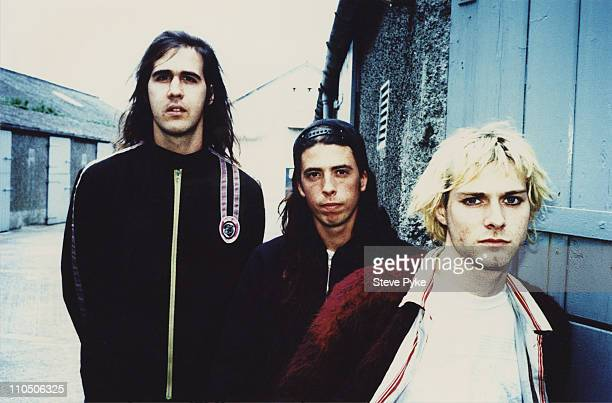 American rock group Nirvana Belfast 1992 Left to right bassist Krist Novoselic drummer Dave Grohl and guitarist/singer Kurt Cobain