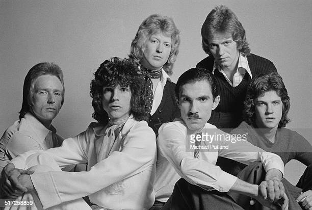 American rock group Sparks, 1974. Left to right: guitarist Trevor White, singer Russell Mael, drummer Norman 'Dinky' Diamond, keyboard player Ron...