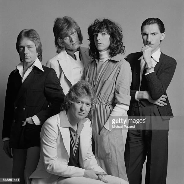 American rock group Sparks, March 1975. Clockwise from bottom: drummer Norman 'Dinky' Diamond, guitarist Trevor White, bassist Ian Hampton, singer...