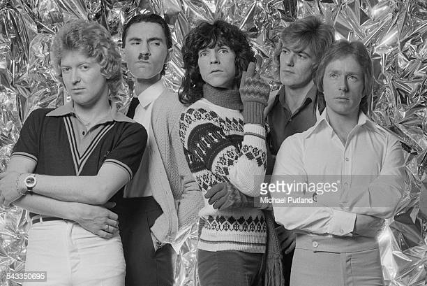 American rock group Sparks, March 1975. Left to right; drummer Norman 'Dinky' Diamond, keyboard player Ron Mael, singer Russell Mael, bassist Ian...