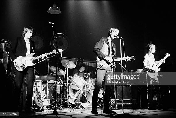 American rock group Television performing at the Bottom Line club New York City 21st March 1977 Left to right Fred Smith Billy Ficca Tom Verlaine and...