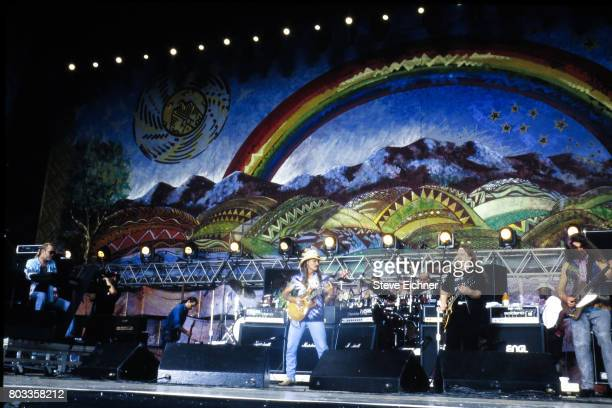 American Rock group the Allman Brothers perform onstage at the Woodstock '94 festival Saugerties New York August 14 1994 Pictured are from left Gregg...