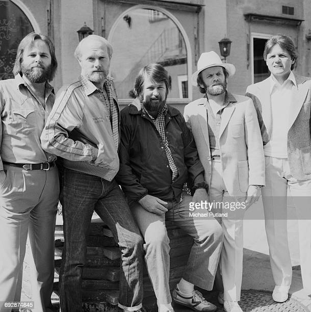 American rock group The Beach Boys, Oslo, Norway, 1982. Left to right: Carl Wilson, Mike Love, Brian Wilson, Al Jardine and Bruce Johnston.