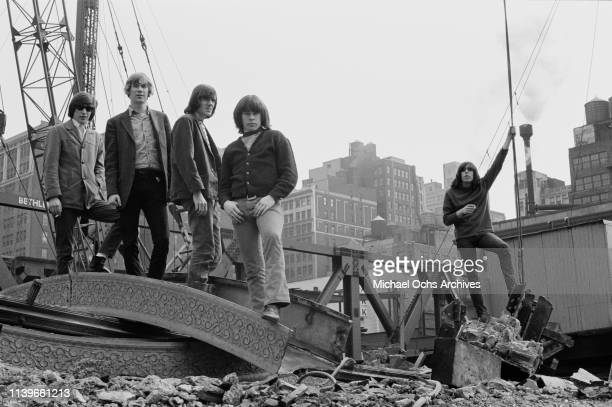 American rock group the Blues Magoos in New York City circa 1966 From left to right they are keyboard player Ralph Scala drummer Geoff Daking...