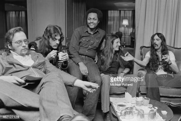 American rock group The Doobie Brothers, London, January 1974. Left to right: John Hartman, Tom Johnston, Tiran Porter, Patrick Simmons and Keith...