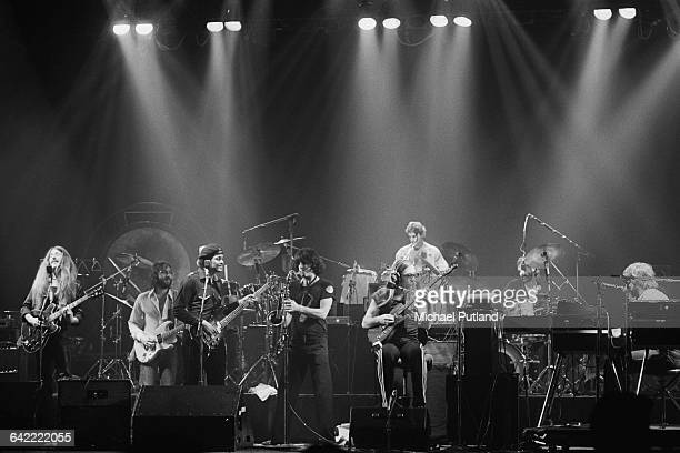 American rock group The Doobie Brothers on stage at the Palladium, New York, 16th November 1978. The musicians include Patrick Simmons , Tiran Porter...