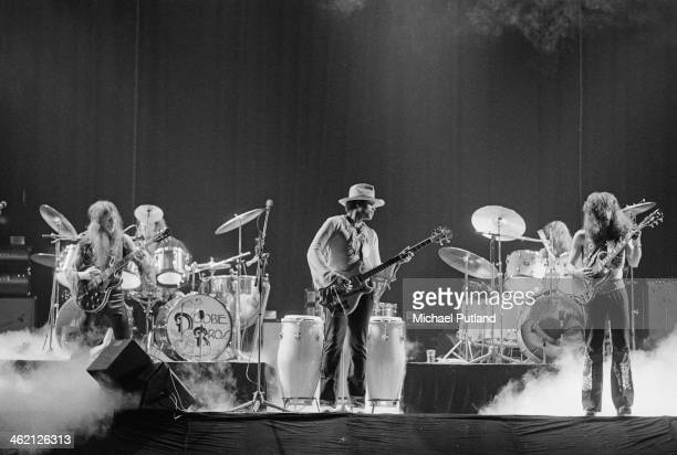 American rock group The Doobie Brothers performing at the Rainbow Theatre, London, 31st January 1974. Left to right: Patrick Simmons, John Hartman,...