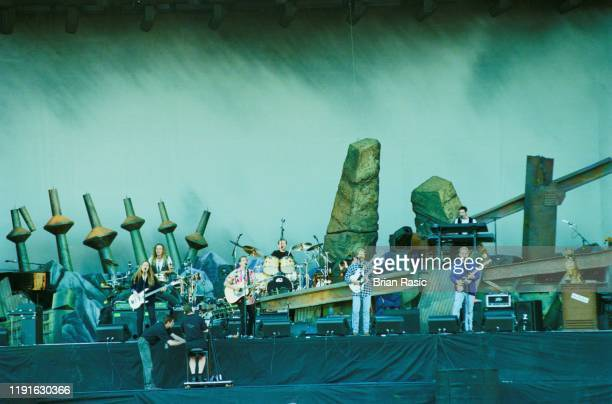American rock group The Eagles perform live on stage at Wembley Stadium in London during the band's Hell Freezes Over tour on 13th July 1996 Members...