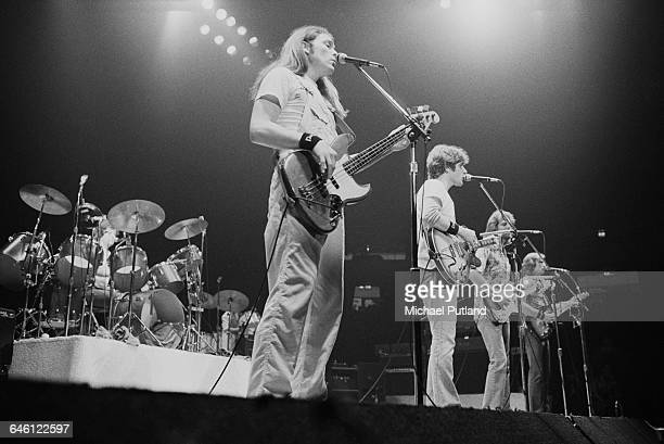 American rock group The Eagles performing on stage USA November 1979 Left to right Don Henley Timothy B Schmit Glenn Frey Don Felder and Joe Walsh