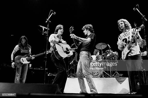 American rock group the Eagles, with special guest Jackson Browne , perform onstage at the Chicago Stadium, Chicago, Illinois, October 22, 1979....