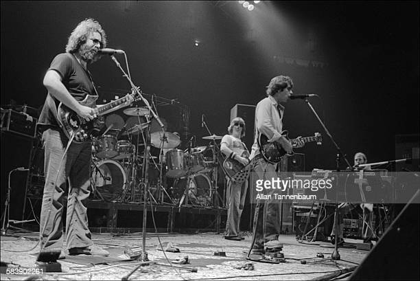 American Rock group the Grateful Dead perform at Madison Square Garden, New York, New York, September 4, 1979. The group, from left, Pete Farndon,...