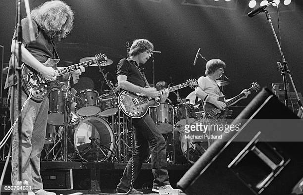 American rock group The Grateful Dead performing on stage 1981 Left to right Jerry Garcia Bob Weir and Phil Lesh