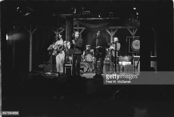 American Rock group the Mothers of Invention perform onstage at the Village Gate nightclub New York New York May 20 1967 Pictured are from left Roy...