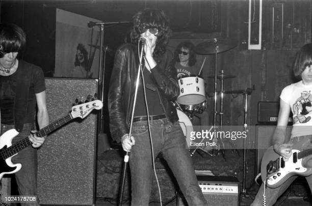 American rock group the Ramones perform onstage at CBGBs nightclub New York New York December 1975 Pictured are from left Dee Dee Ramone on bass...
