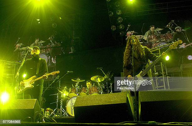 American Rock group Zwan performs onstage Chicago Illinois May 18 2002 Pictured are from left Billy Corgan Jimmy Chamberlin and Paz Lenchantin