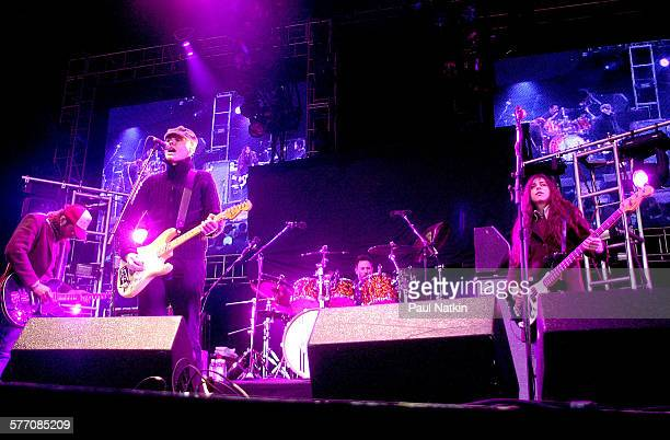 American Rock group Zwan performs onstage Chicago Illinois May 18 2002 Pictured are from left Matt Sweeney Billy Corgan Jimmy Chamberlin and Paz...