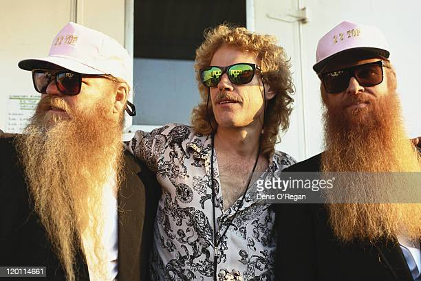American rock group ZZ Top July 1991 Left to right bassist Dusty Hill drummer Frank Beard and guitarist Billy Gibbons