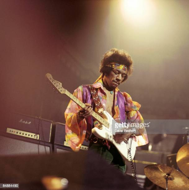 HALL Photo of Jimi HENDRIX performing live onstage playing white Fender Stratocaster guitar