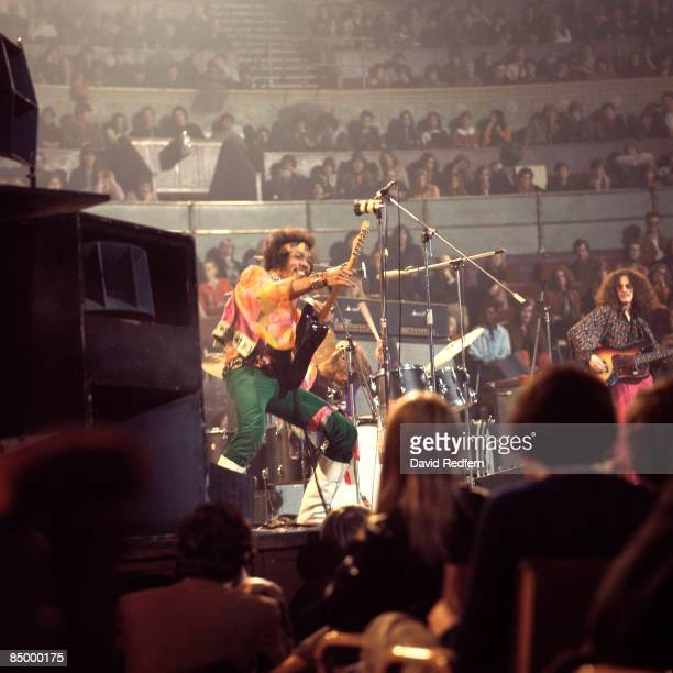 HALL Photo of Jimi HENDRIX performing live onstage with Noel Redding on right
