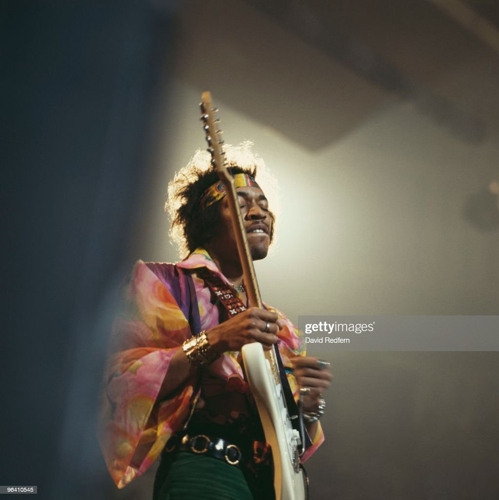 Jimi Hendrix performs on stage at the Royal Albert Hall on February 24th, 1969 in London. Image is part of David Redfern Premium Collection.