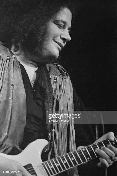 American rock guitarist and singer Leslie West of the band Mountain performs at Woodstock Bethel USA August 1969