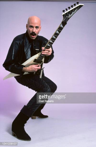 American rock guitarist Bob Kulick New York City December 16 1986 He is holding a Jackson Randy Rhoads RR1 guitar
