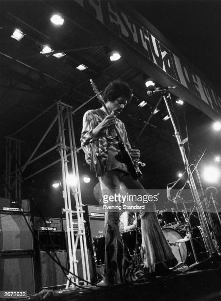 American rock guitarist Jimi Hendrix in concert at the Isle of Wight Festival his final UK performance