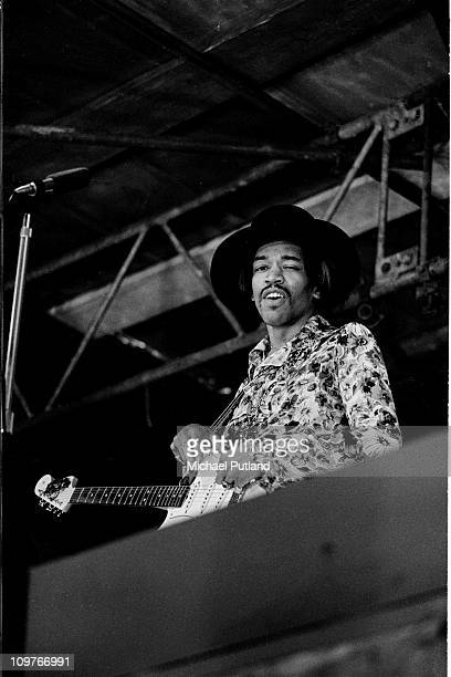 American rock guitarist Jimi Hendrix performing on stage at the Woburn Music Festival held at Woburn Abbey in Bedfordshire England on July 06 1968