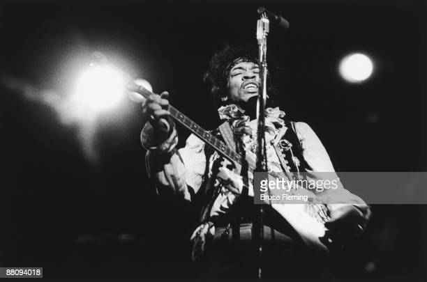 American rock guitarist Jimi Hendrix performing with The Jimi Hendrix Experience at the Monterey Pop Festival California 18th June 1967