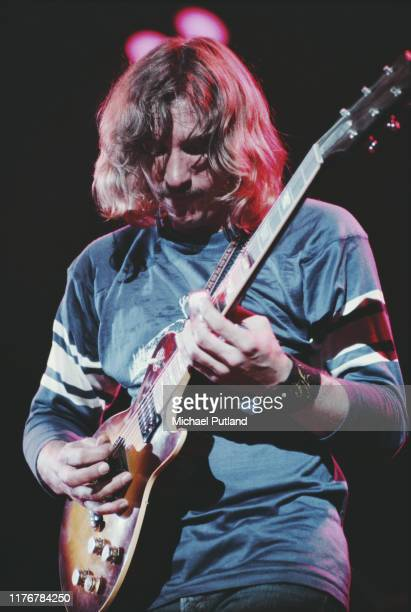 American rock guitarist Joe Walsh performs live on stage with the Eagles at Wembley Empire Pool London during the band's Hotel California tour 27th...