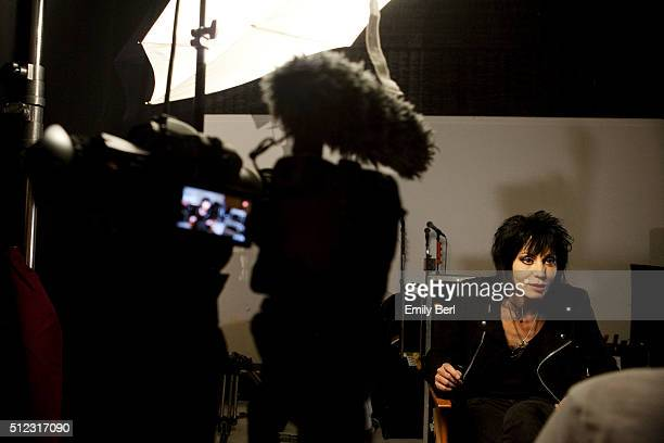 American rock guitarist singer and songwriter Joan Jett is photographed on the set of a music video for The Hollywood Reporter on September 13 2013...