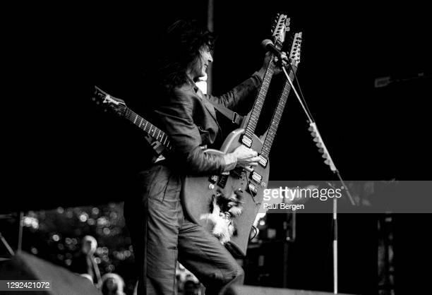 American rock guitarist Steve Vai performs together with rock singer David Lee Roth at Monsters of Rock festival, Tilburg, Netherlands, 4th September...