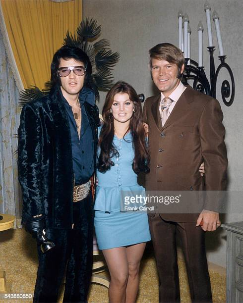 American rock legend Elvis Presley his wife Priscilla and Glen Campbell attend George Klein's wedding with Barbara Little in Elvis' International...