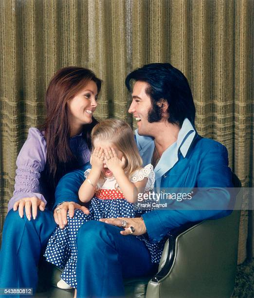 American rock legend Elvis Presley with his wife Priscilla and their daughter LisaMarie