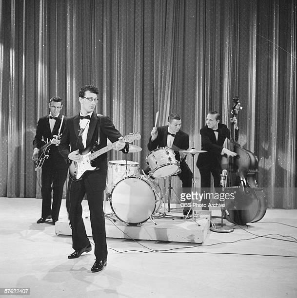 American rock music pioneer Buddy Holly and his band The Crickets perform on Ed Sullivan's CBS variety show 'Toast of the Town' New York December 1...