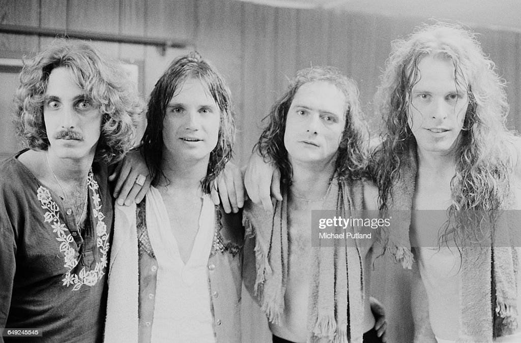 American rock musician and singer Ted Nugent (far right) with his band, 15th April 1979. Left to right: bassist Dave Kiswiney, guitarist Charlie Huhn, drummer Cliff Davies (1948 - 2008) and Nugent.