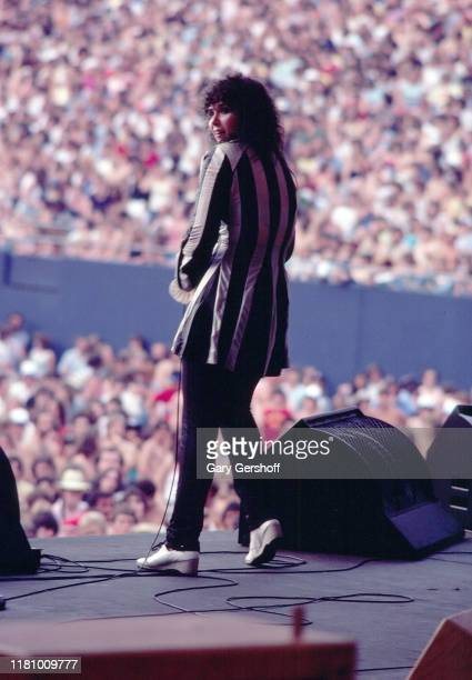 American Rock musician Ann Wilson, of the group Heart performs onstage at Giants Stadium, East Rutherford, New Jersey, June 15, 1980.