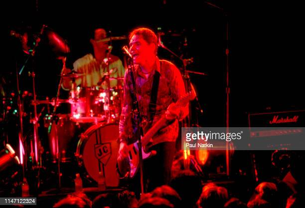 American Rock musician Billy Corgan, of the group Smashing Pumpkins. Plays guitar as he performs onstage at the Metro, Chicago, Illinois, April 15,...