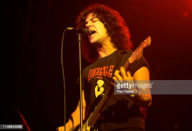 American Rock musician Billy Squier plays guitar as he performs onstage at the Rosemont Horizon Rosemont Illinois November 7 1981
