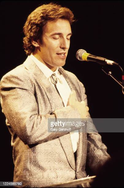 American Rock musician Bruce Springsteen speaks onstage during the Third Annual Rock and Roll Hall of Fame Awards ceremony at the Waldorf Astoria...